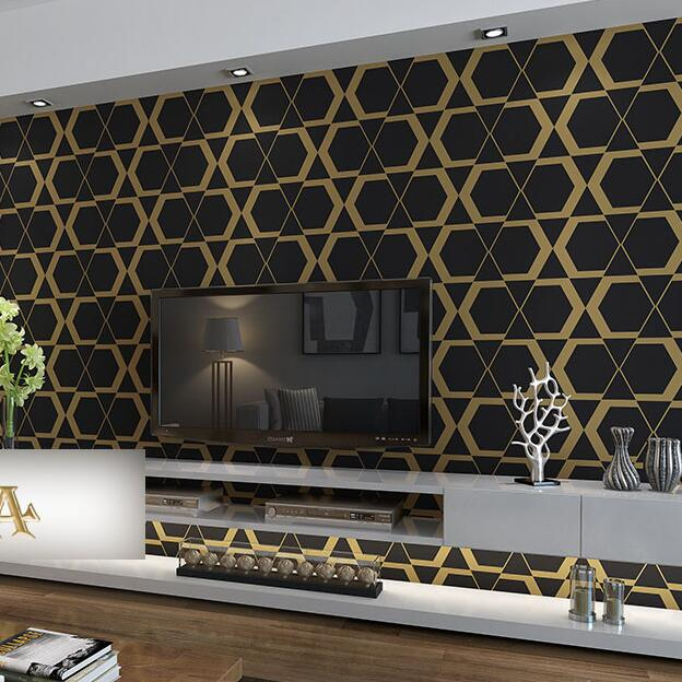 Black And Gold Living Room Wallpaper