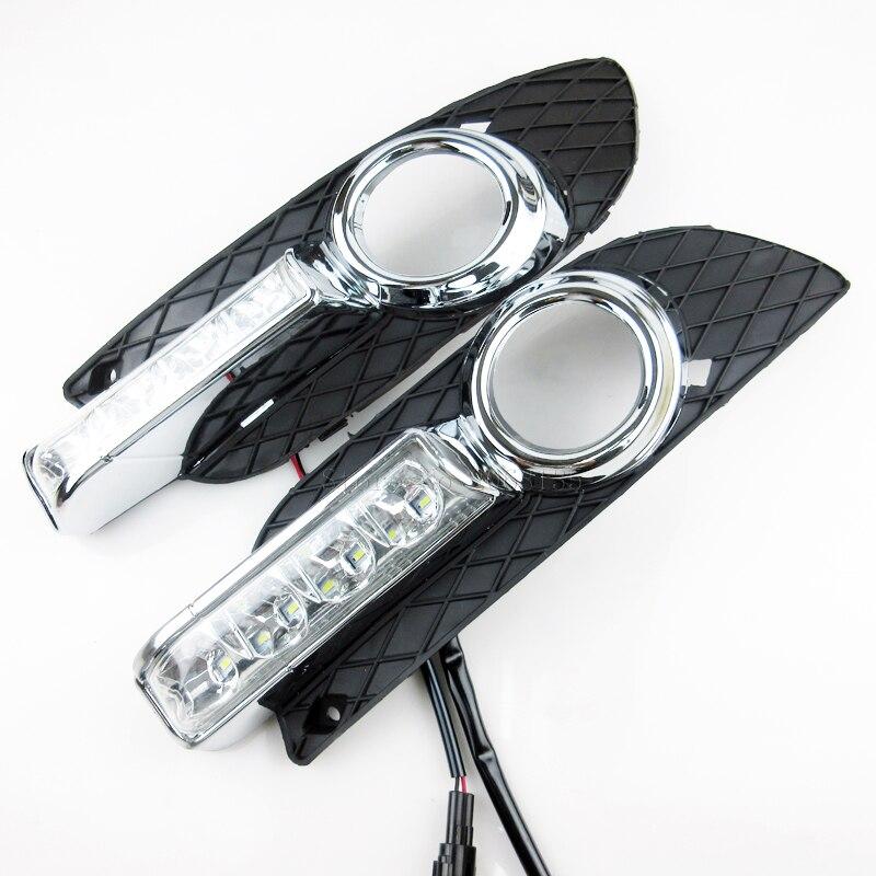 Высокое качество 12V СИД автомобиля DRL дневные ходовые огни с противотуманные фары отверстие для Мицубиси Лансер-экс 2009 - 2014
