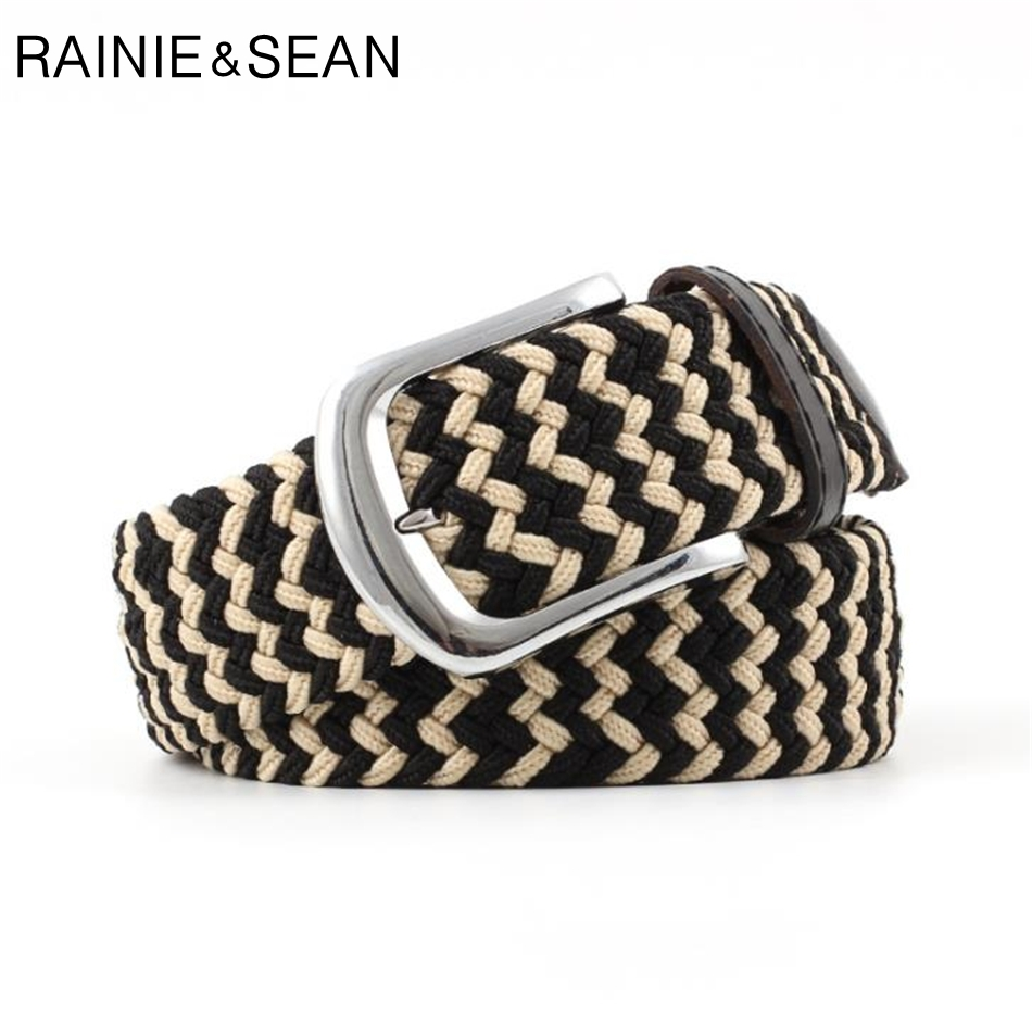 RAINIE SEAN Knitted Belt Men Women Braided Waist Patchwork Fashion Casual Male Female
