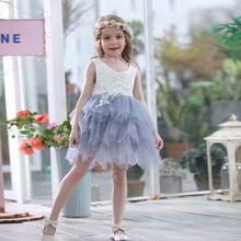 Retail Summer New Girl Dress Lace Gauze Princess Vest Party Sundress Layered Children Clothing 16900