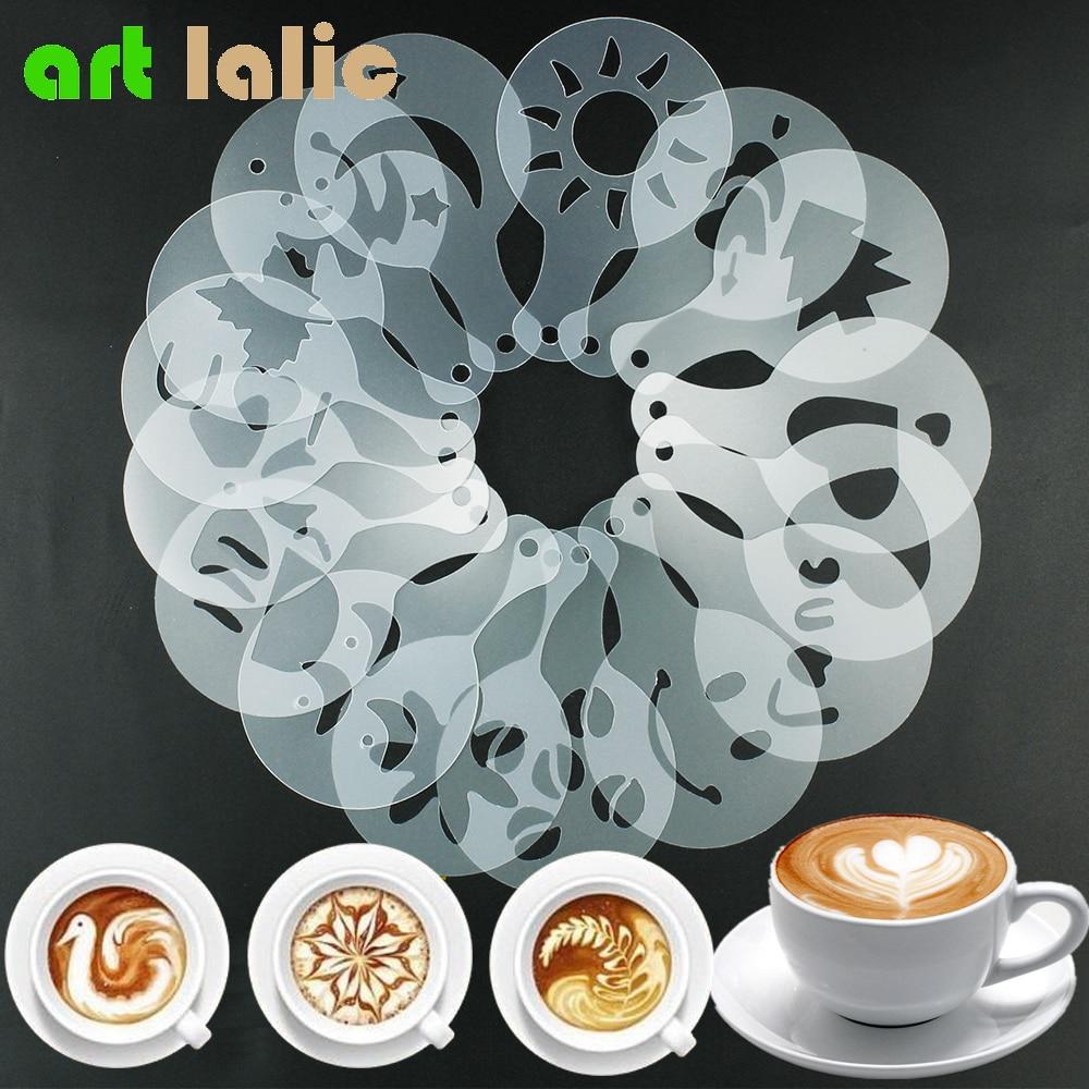 Modelo de barista em spray, formas de café, leite, cupcake, estêncil, ferramentas para barista, cappuccino, borrifador de pó, 16 peças