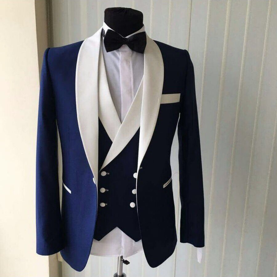 Custom Made Groomsmen Shawl White Lapel Groom Tuxedos Blue Men Suits Wedding Best Man Blazer (Jacket+Pants+Vest+Bow Tie ) C69