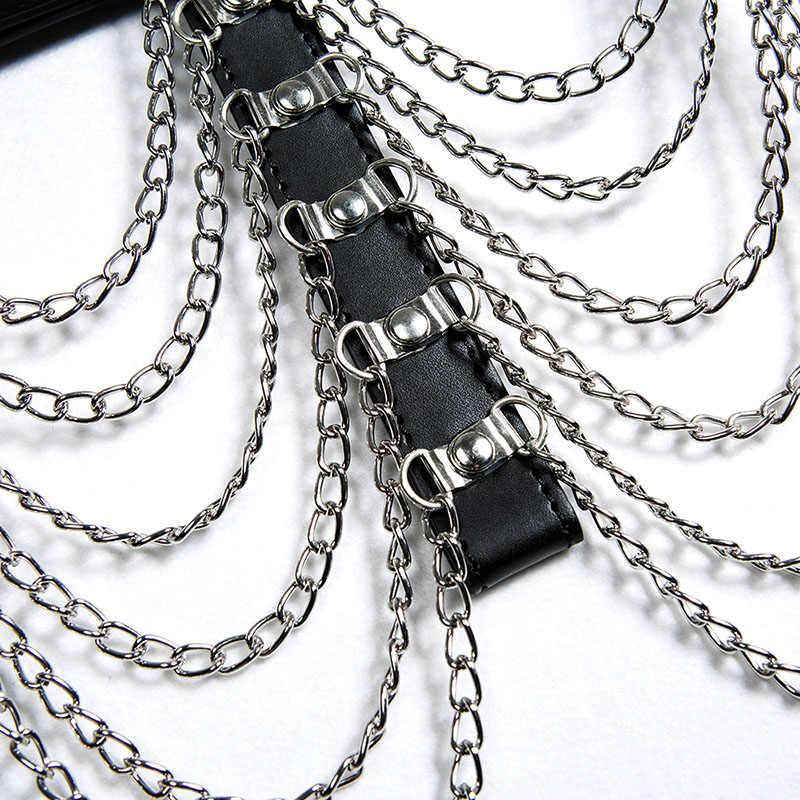 Leather Harness Bra With Chocker Sexy Body Chain Bondage Belt Goth Punk Harness Belt Crop Top Bdsm Lingerie NightClub Party Wear