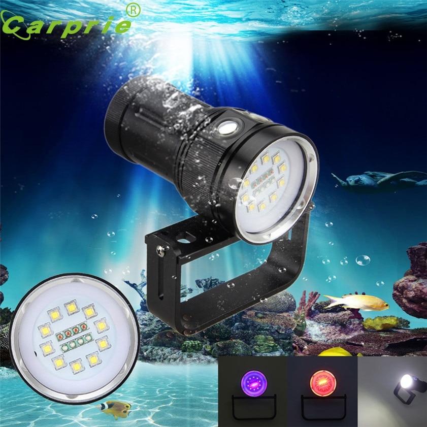 Super 10x XM-L2+4x R+4x B 12000LM LED Photography Video Scuba Diving Flashlight Torch 170331