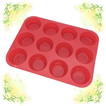 NEW 12 Cup Silicone Muffin pan & Cupcake Baking Dish No - Stick baking pan silicone cake round Mini Muffin Pan form