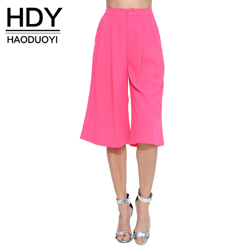 HDY Haoduoyi Solid Color Fashion Women Pant High Waist Straight Cropped Zipper Wide Leg Pants Women Brief Loose Casual Trousers