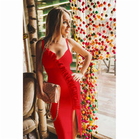 See Orange Deep V Neck Slim Sexy Dress Summer 2018 Celebrity Party Dress Red Slit Ruffle Dresses High Elastic SO3335
