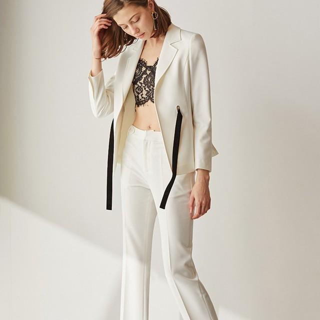2393baf9c9a US $82.99 43% OFF|2019 Italian New Designer Women Lace Up Formal White  Blazer Suit OL Work Slim Fit Blazers Suit Business Ladies Long Pants Set-in  ...