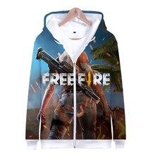 LUCKYFRIDAYF Kpop FREE FIRE Fashion 3D Zipper Hoodies Women Cool Spring Skull Print Long Sleeve Hoodie Popular Soft Clothes