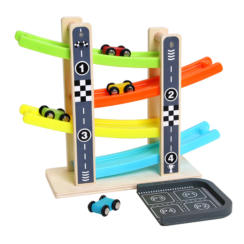 Wooden Train 4-Layer Race Track & 4 Mini Inertia Race Car Sliding Toy Vehical &Train Baby Toddler Motor For Baby Car