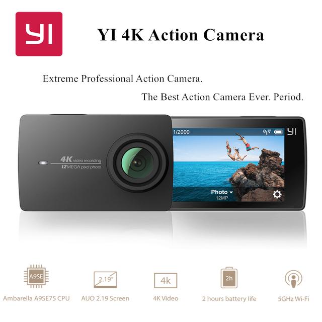 "YI 4 K Action Camera 2.19 ""EIS Tela LDC A9SE Cortex A9-braço Ambarella 12MP CMOS WIFI Versão Internacional"