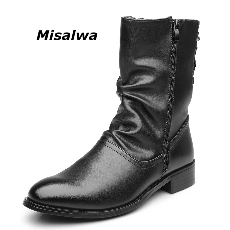 Misalwa Mens Casual Engineer Zipper Motorcycle Boots 2019 Black Leather Elevator Flats Fur Lining Hustin Waterproof