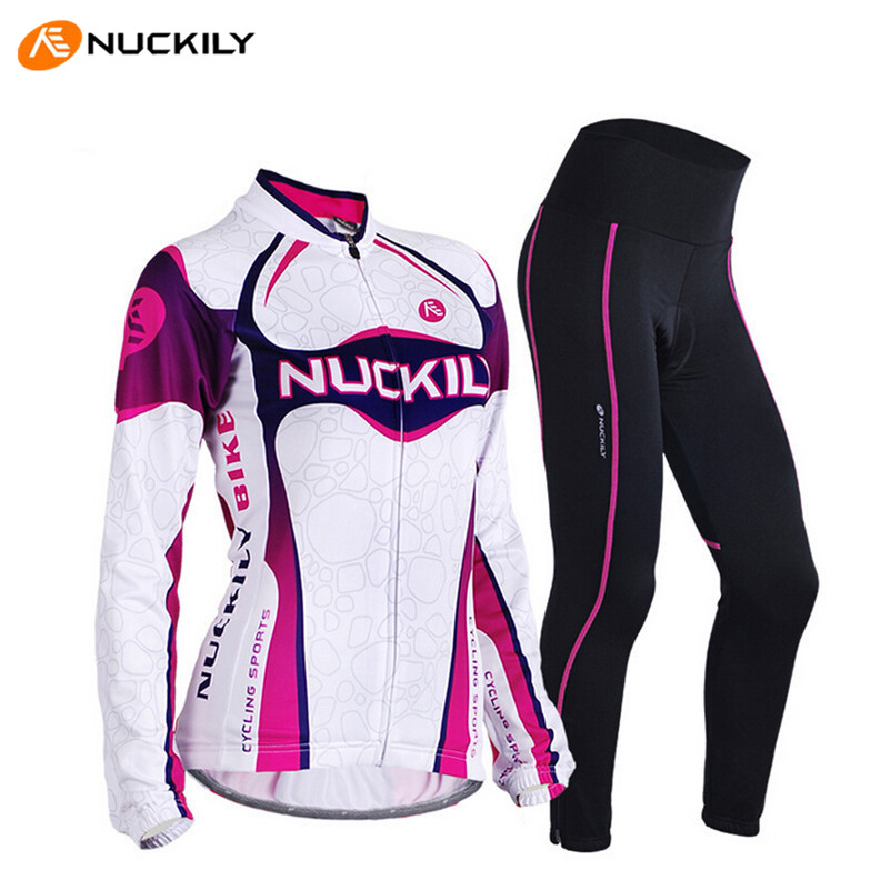 цена на NUCKILY S~3XL Women Bike Clothes Long Sleeve Jerset Tight Pants MTB Bike Clothing Sport Roupa Bike Bicycle Cycling Jersey Sets