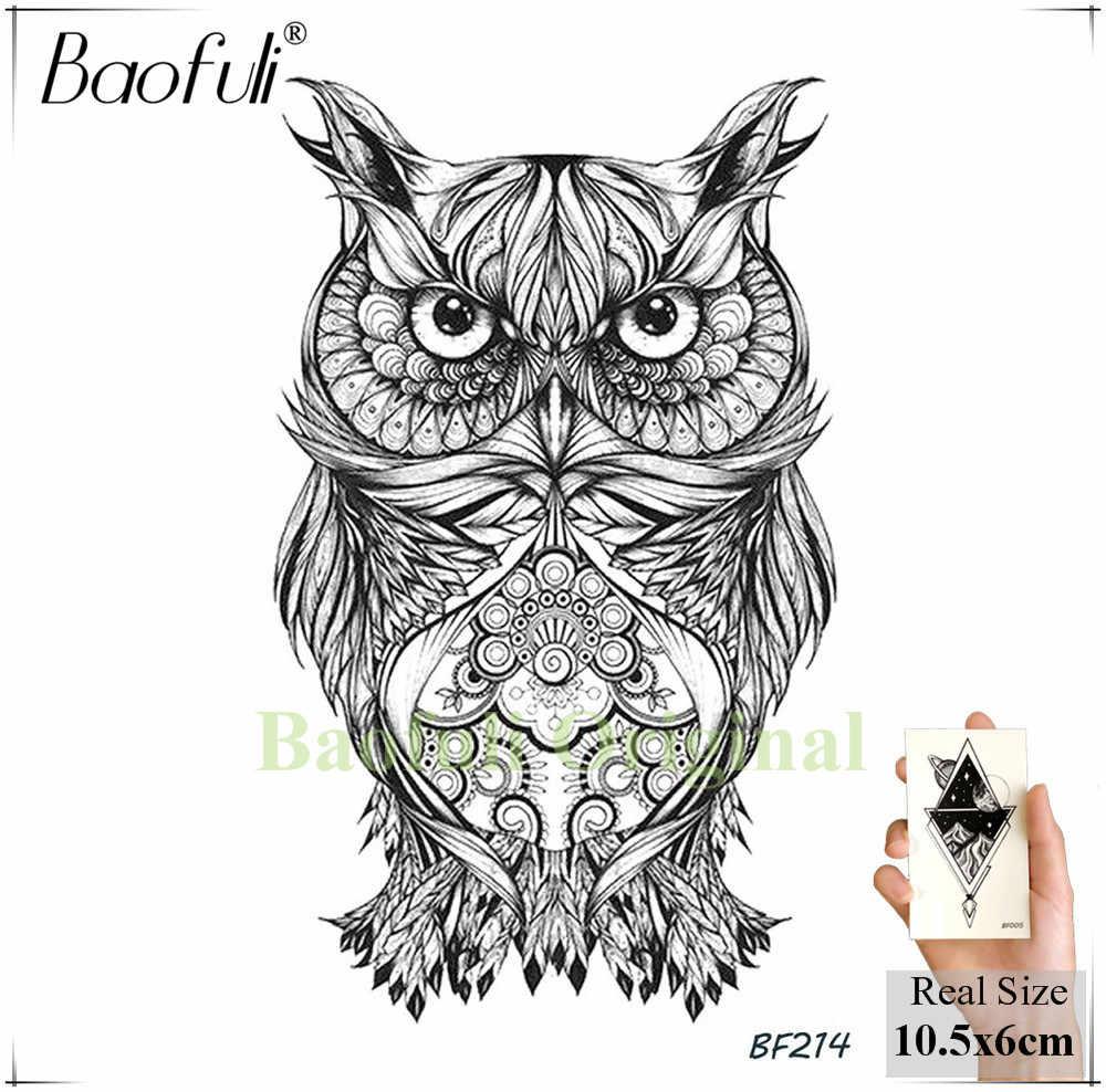 Baofuli pencil sketch owl cartoon temporary tattoo geometric art tattoo black waterproof fake tattoo planet body