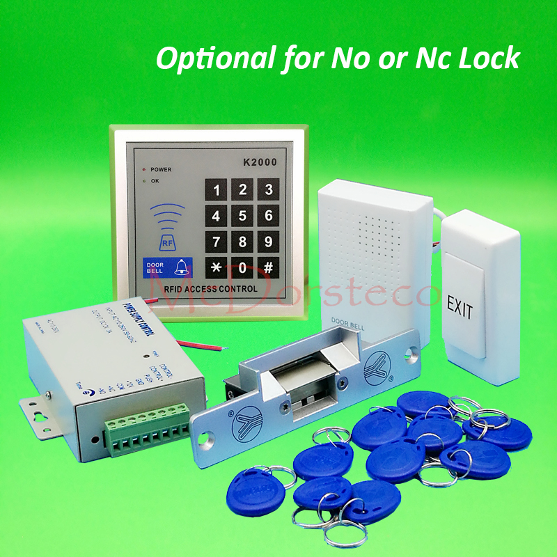 Brand New DIY 125khz Rfid Door Access Control Kit Set with Electric Strike Lock + 10 RFID keyfob Card Full Access Control System diy waterproof 125khz rfid door access control kit set electric strike lock 10 rfid card outdoor touch keypad access control