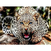 5D Diamond Painting DIY Leopard Animal 2 8 Rubik S Cube Round Diamond Embroidery Living Room