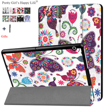 """For HUAWEI MediaPad T3 10 9.6"""" Case Stand Flip Leather Capa For Huawei Honor Play Pad 2 9.6 Tablet Cover Print Fundas+Flim Pen"""
