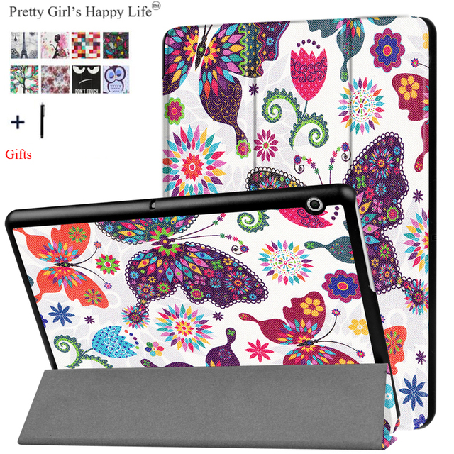 For HUAWEI MediaPad T3 10 9.6'' Case Stand Flip Leather Capa For Huawei Honor Play Pad 2 9.6 Tablet Cover Print Fundas+Flim Pen