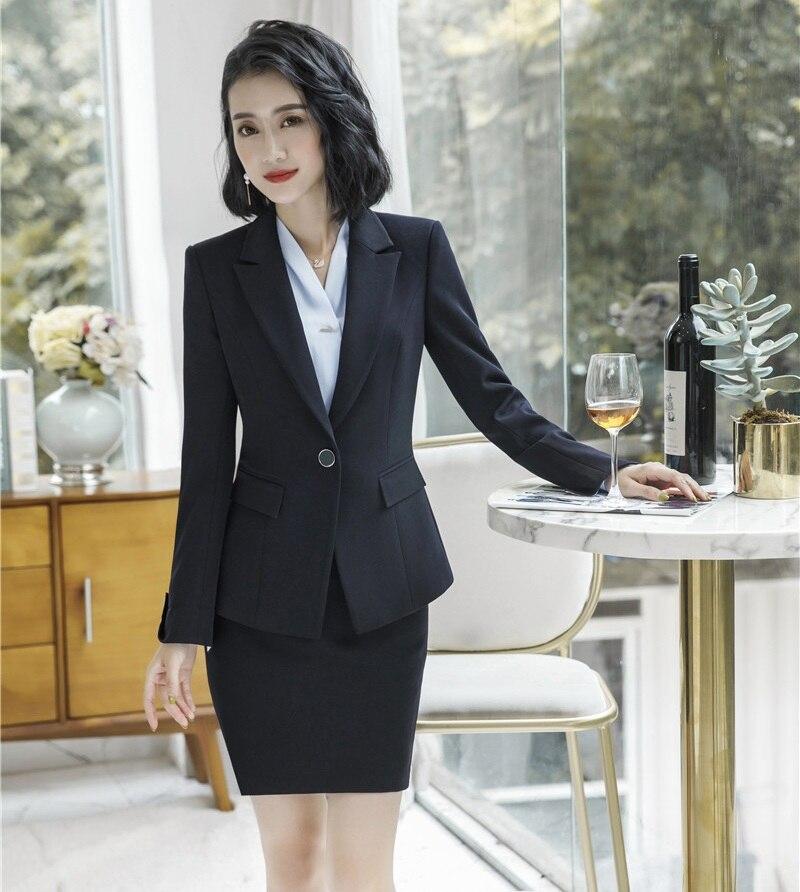Chaqueta Blazer Formal Con Falda Estilo Y Negocios Negro Trajes Desgaste Señoras Uniforme Trabajo Oficina Conjuntos Mujeres zxpzqFw