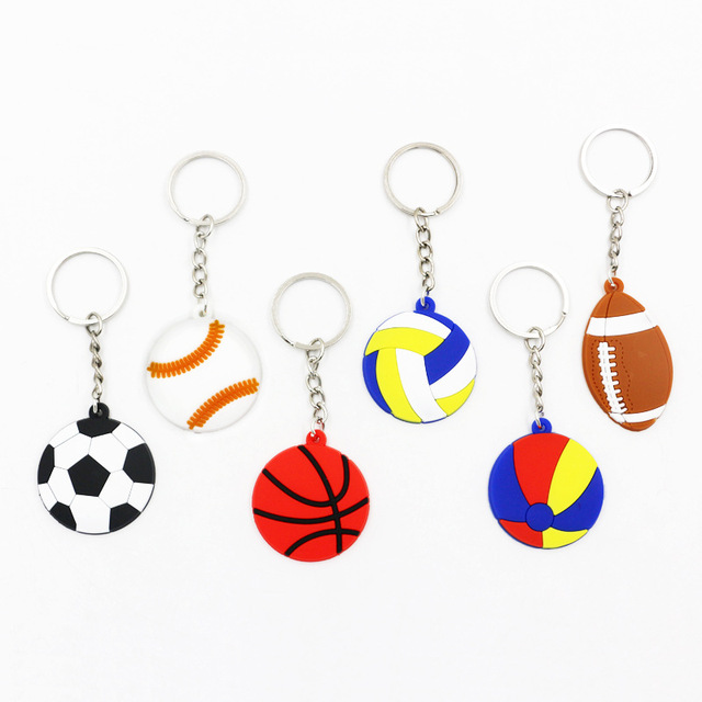 500 piezas nuevo PVC fútbol Baseball voleibol llavero pelotas deportivas llavero chicos llavero Metal anillo deportes regalo