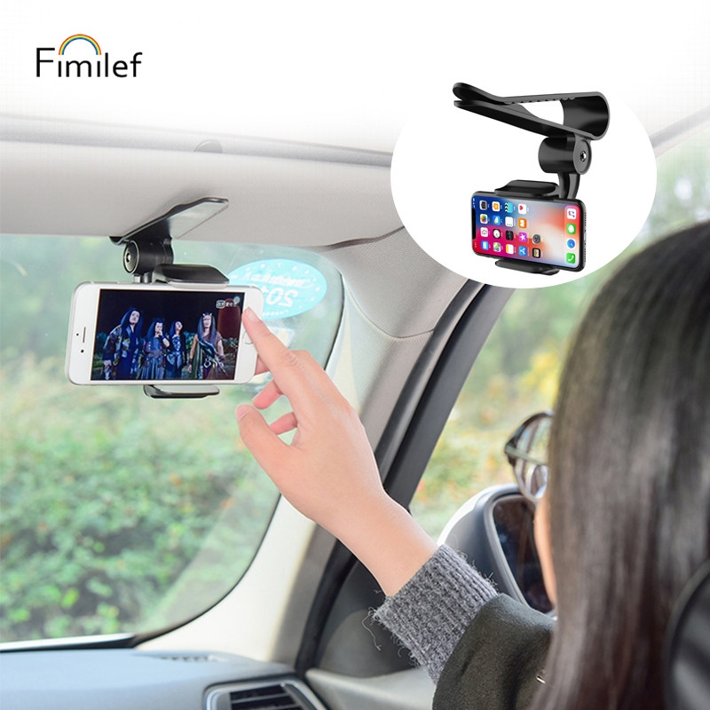 Fimilef Universal Car Phone Clip Holder Sun Visor Mount Cell Phone Holder Stand For iPhone x 11 7 xiaomi GPS Car Phone Holders