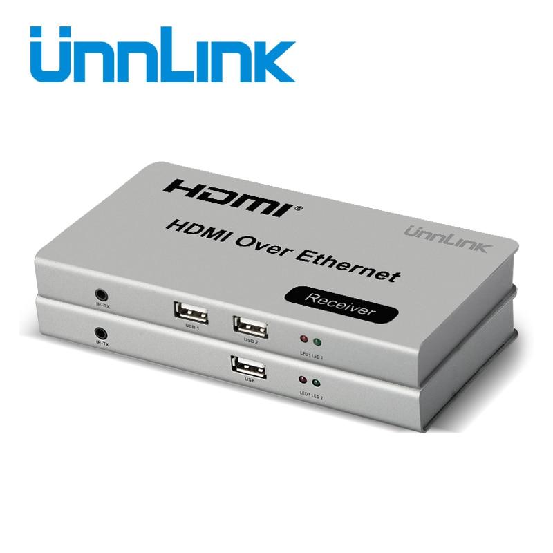 Unnlink 120M HDMI Ethernet RJ45 LAN CAT5E/6 Extender HDMI KVM Extension FHD 1080P@60Hz ir Remote Control for computer tv project