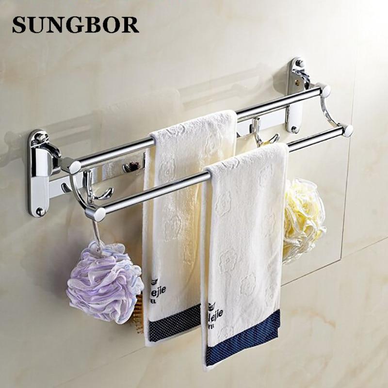 Chrome plated zinc alloy double / single towel bar towel ...