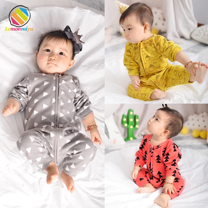 Lemonmiyu Cotton Baby Rompers Long Sleeve Newborn Pajamas Animal Print Infant Boy Girl One-piece Spring Autumn Baby Clothes 3pieces lot natural cotton baby bodysuit newborn baby long sleeve underwear 0 1 years infant boy and girl pajamas clothes