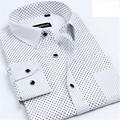 White Polka Dot Dress Shirt Men M-4XL 2017 Spring Autumn Long Sleeve Slim Fit Camisa Social Masculina Cotton Casual  Man Shirts
