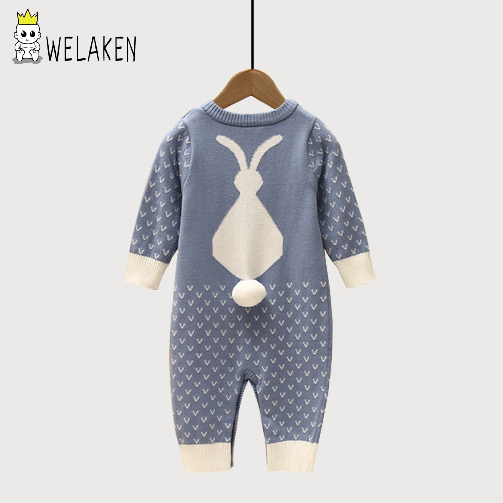 3 Color Knitted Baby Rompers Spring Autumn Long Sleeve Baby Boys Girls Jumpsuit Cute Cartoon Rabbit Infan Clothes Kids Romper warm thicken baby rompers long sleeve organic cotton autumn
