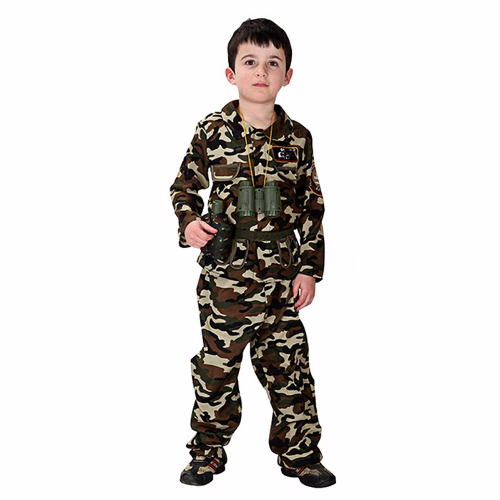 Children Halloween Costume Boy Soldiers Cosplay Kids Camouflage Special Forces Uniform Role Play Carnival Masquerade Party Dress seitokai no ichizon cosplay school boy uniform h008