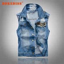 New Fashion Brand Mens Denim Vest Vintage Sleeveless Washed Jeans Waistcoat Man Cowboy Hole ripped Jacket Male Vests G272