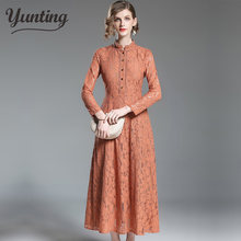 Embroidered Lace Dress Women New 2019 Autumu Ladies Hollow Out Fashion Elegant Female Slim Sexy Party Dresses(China)