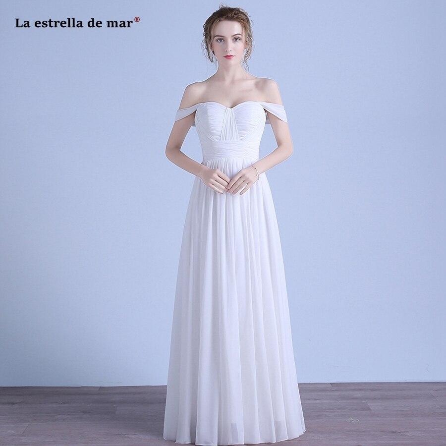 vestidos de dama de honor mujer 2019 new Boat Neck chiffon cap sleeve Backless A Line white   bridesmaid     dresses   long plus size