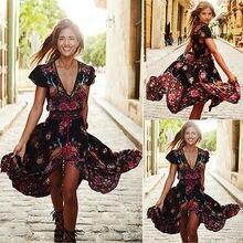 2016 neue Mode Frauen Sommer Vintage Boho Lang Maxi Strandkleid Floral Sundress