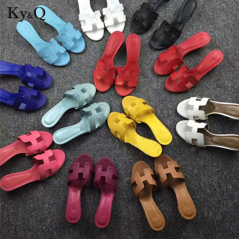 375163b742eee1 2018 Spring Summer ShoesFashion Multicolor Flat Heel Sandals Word Cool  Slippers Casual Shoes Streetwear Ladies Flat Slippers