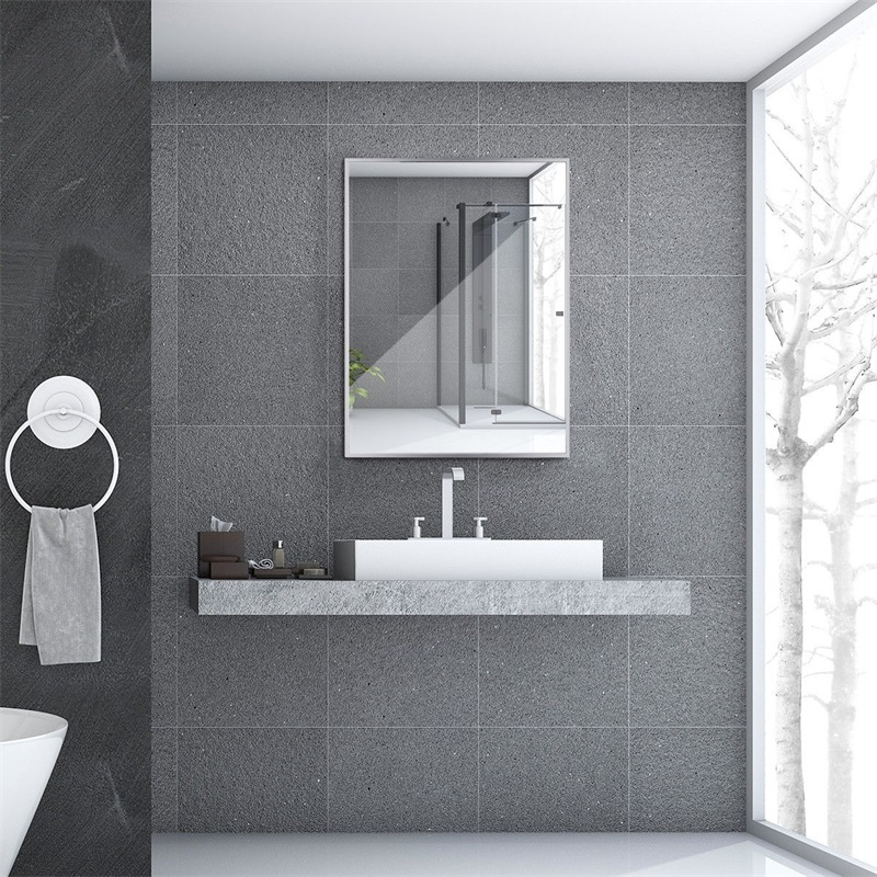 Stainless Steel Frame Floating Glass Rectangular Wall Mirror Bath Mirrors HW60316
