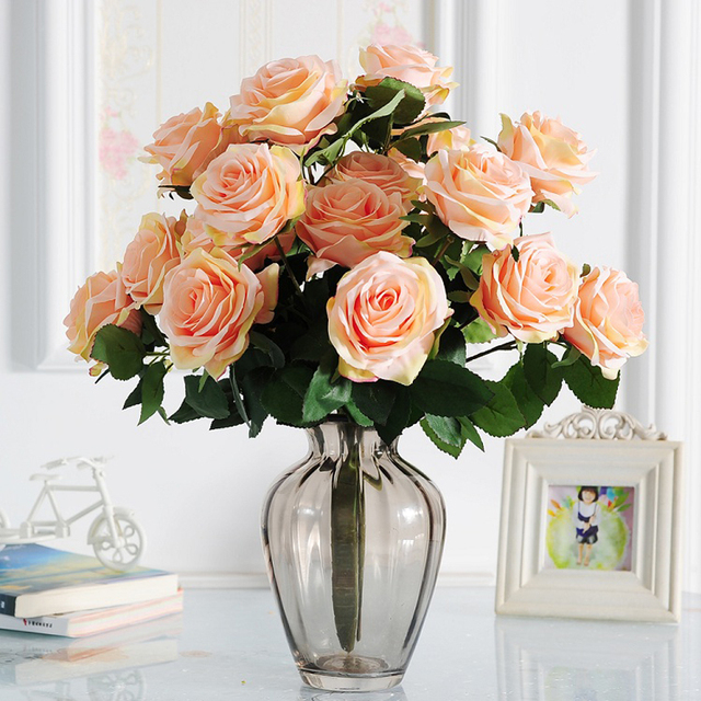 10 Heads Artificial Flower Rose Bouquet Teal Touch French Silk Roses ...