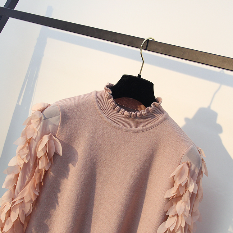 HLBCBG Ruffled Collar Knitted Women Sweater Spring Autumn Loose Jumper Fashion Flowers Sleeves Sweater and Pullover Femme Pull 13