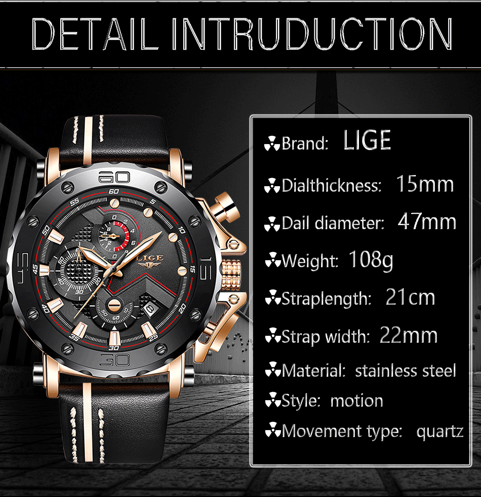 2019LIGE New Fashion Mens Watches Top Brand Luxury Big Dial Military Quartz Watch Leather Waterproof Sport Chronograph Watch Men 7