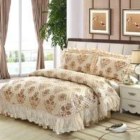 European Jacquard Bedspread Pillow Cases Queen/King Size Lace Bed Cover Coverlet Set High Quality 3pcs