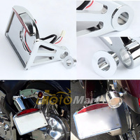 Chrome Aluminum Motorcycle Accessories Side Mount License Plate Bracket Frame LED Tail Light For Harley Bobber Chopper Cruisers