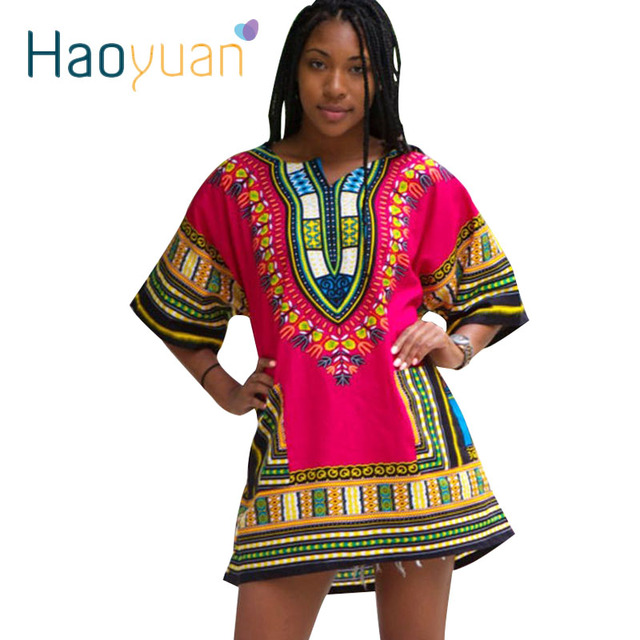 US $12.59 10% di SCONTO HAOYUAN Dashiki Vestito 2018 Donna Africana Tradizionale Stampa Manica Corta T Shirt Abbigliamento Africano Abiti Bazin Riche