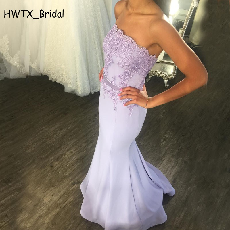 Elegant Mermaid   Bridesmaid     Dresses   For Wedding Party 2018 Strapless Vintage Lace Satin Floor Length Long Prom   Dress   Gowns Cheap