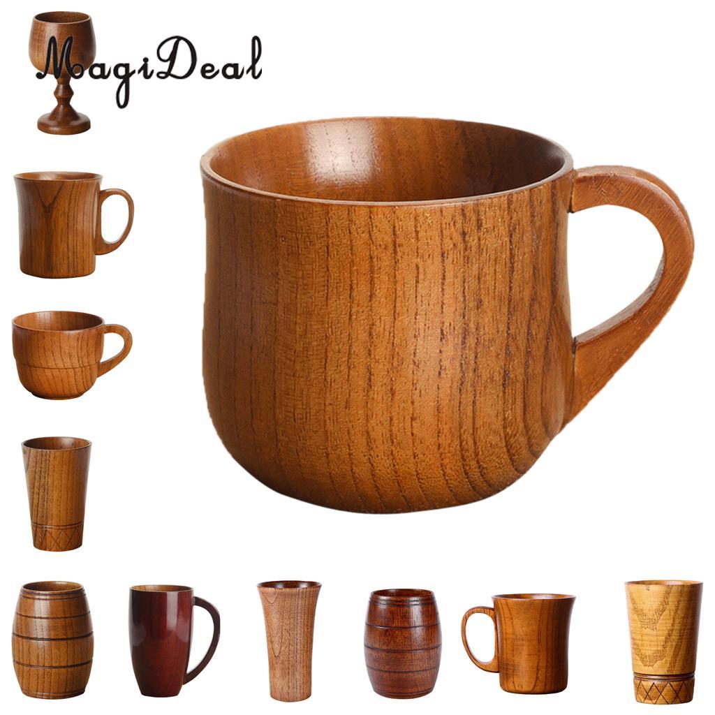 MagiDeal 11 Styles Jujube Wooden Handmade Water Coffee Mug Cup Tea Beer Juice Milk Mugs Drink Cups- Gift