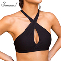 Simenual Mesh cross halter bralette top crop 2017 athleisure fitness elastic sexy hot women camisole tank tops black women's bra