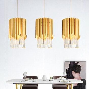 Luxury postmodern Crystal gold Polished pendant Lights for Dining Room Kitchen Island Fixtures Lighting Suspension Steel