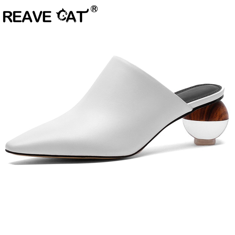 REAVE CAT women slippers genuine leather woman mules pointed toe round clear heels new slides party