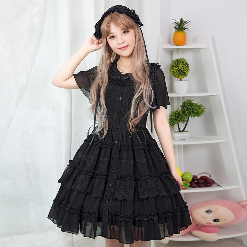 Robe D'origine Laurie D'été Lolita Sœur Zjy107 Princesse Sweet noir Beige Doux Brocade Jardin Quotidienne 4XwHxExqY