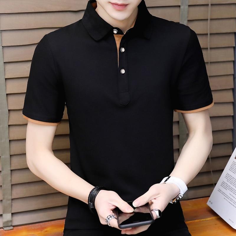 New Fashion Mens   Polo   Shirt Solid Color Slim Poloshirts Short Sleeve Mercerized Cotton Casual   Polos   Shirt Mens M-4XL